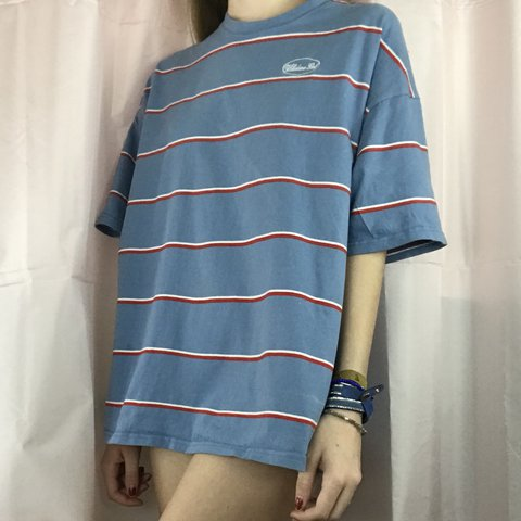 Mixxmix oversized blue tee shirt dress with red and white on - Depop 9be68ce22