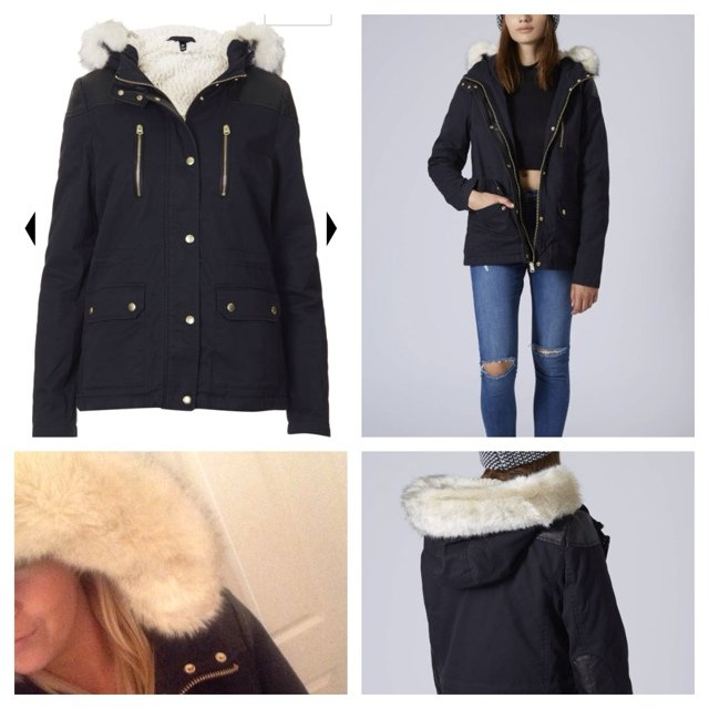 Topshop Short Padded Parka Coat with Borg lining, gold trims and ...
