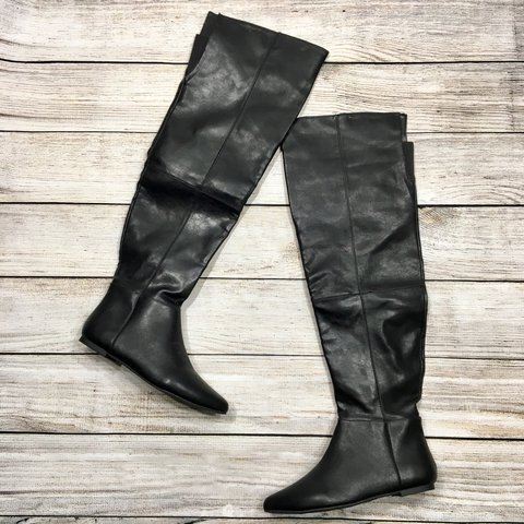 4bf234a1d15 Black faux leather flat pointy toed over-the-knee high boots - Depop