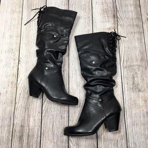 "c54adfb2580 Black faux leather knee-high ""Palazzo"" boots with a chunky - Depop"