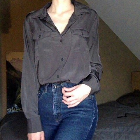 Charcoal Grey Silky Dkny Button Down Blouse You Can Wear It Depop