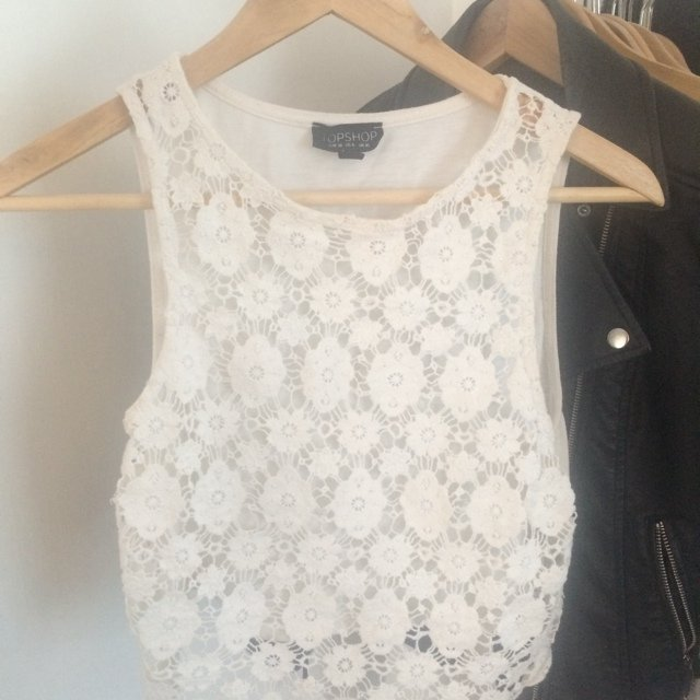 f0d8ee411 @sophiewright91. 5 years ago. Chester, United Kingdom. Topshop white crochet  crop top ...