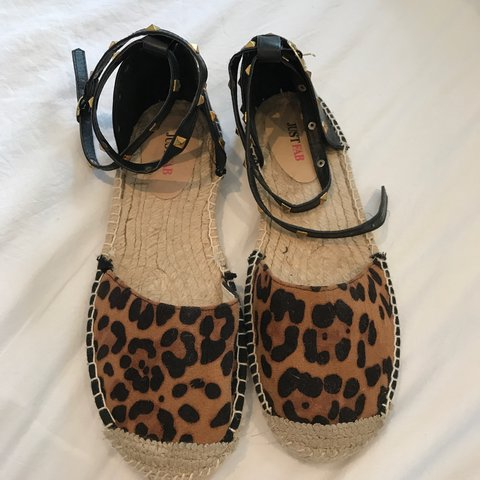 162ecce62b78 Just fab size 6 espadrilles leopard print with studded ankle - Depop