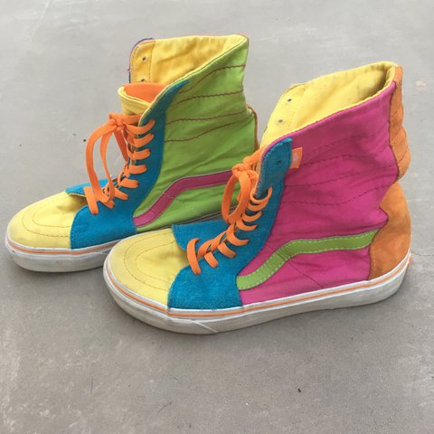 4d7e622377 The COOLEST vintage Vans in the world!! Multicolor Sk8-Hi so - Depop