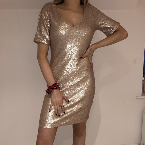 8e0de93b Gold Sequence Dress. Originally bought from Boohoo. Size 12 - Depop
