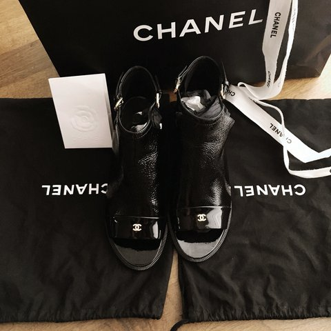 3a1b9be3a Black patent leather Chanel peep-toe ankle boots with cutout - Depop
