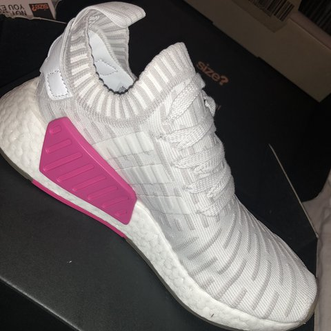 e09f6f8d018df Brand New Adidas NMD R2 - light grey shocking pink. Size 5 6 - Depop