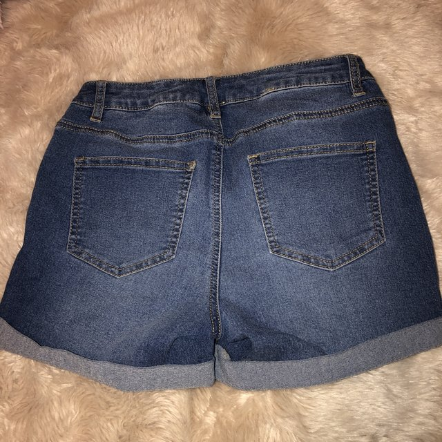 Size 10 high waisted blue denim shorts from primark. Depop