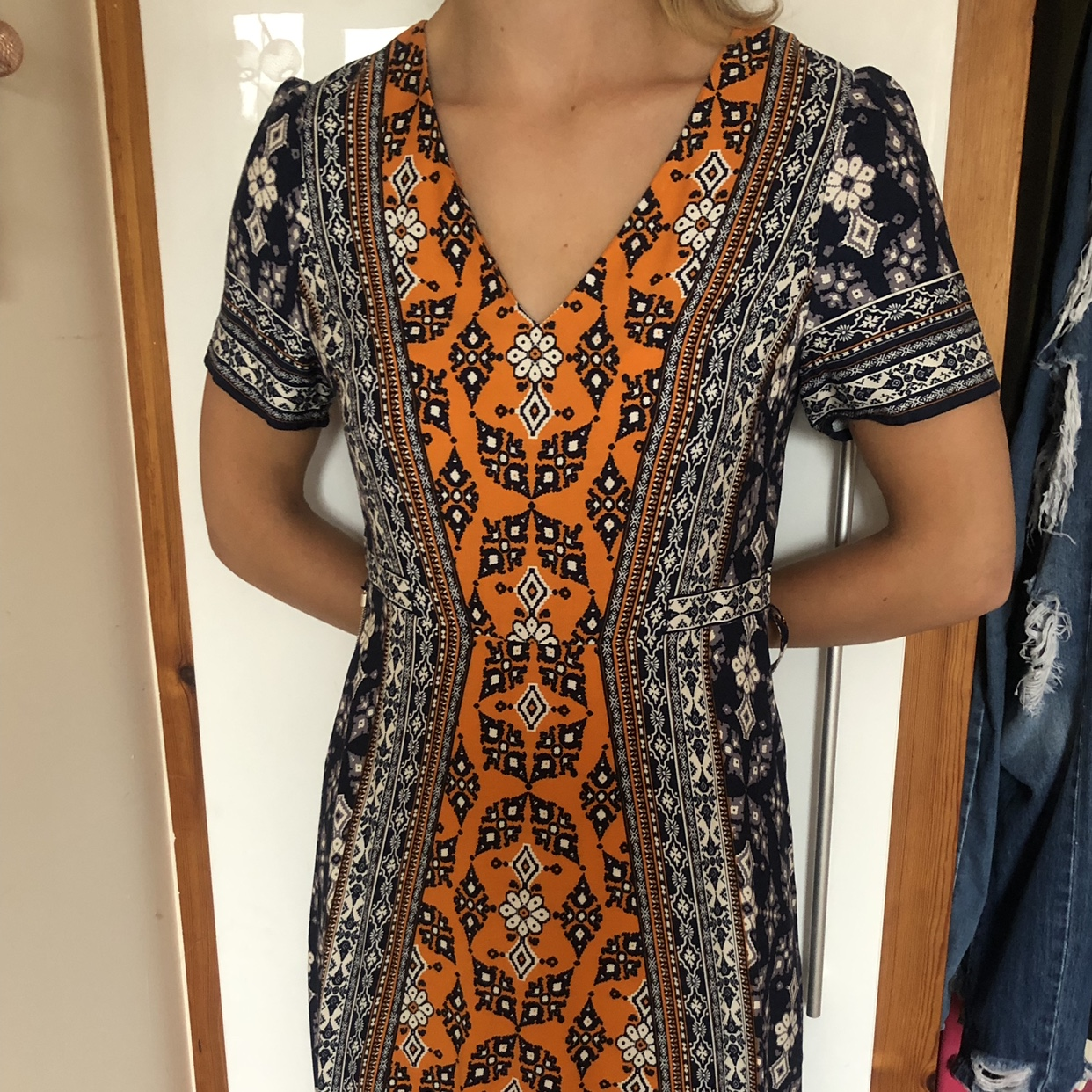 Size 12 orange navy white oasis summer dress Depop
