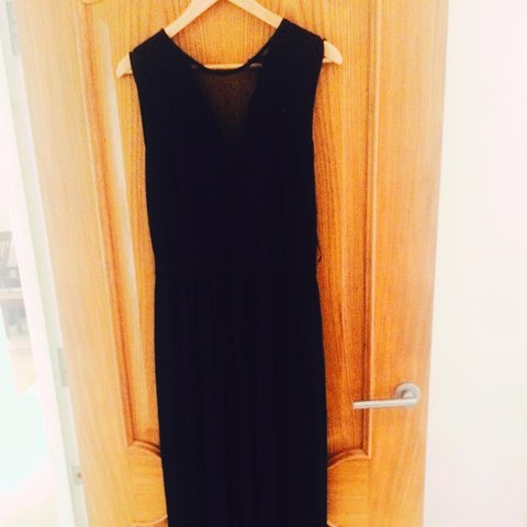 a84e1a325127 @karmaworks25. 4 years ago. Rotherham, United Kingdom. Black maxi dress  from H and M with deep chiffon v and lace ...