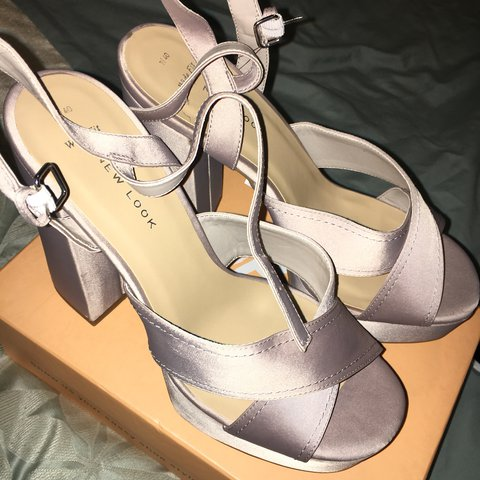 1c27815701de Chunky heeled wide fit shoes from new look! 🐨 Grey satin a - Depop
