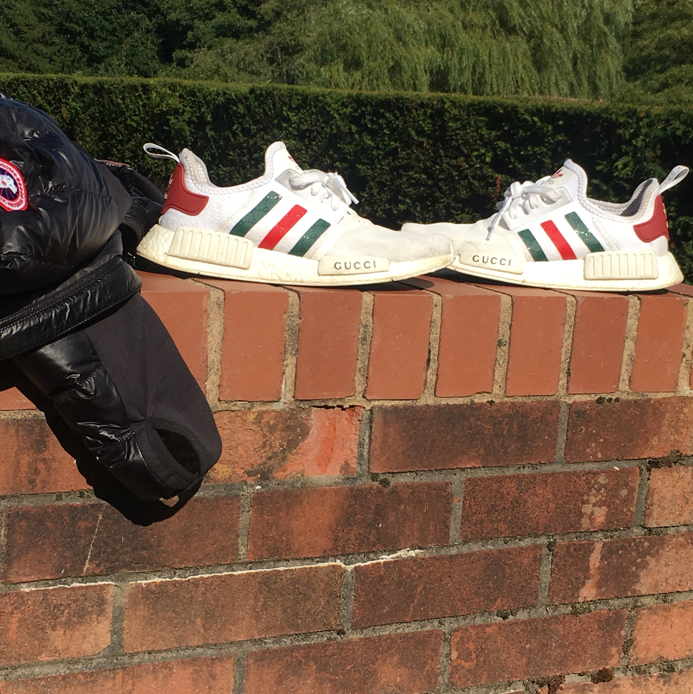 more photos cb8a9 82b88 Adidas x Gucci nmd's customs, nice comfy shoe, 8/10... - Depop