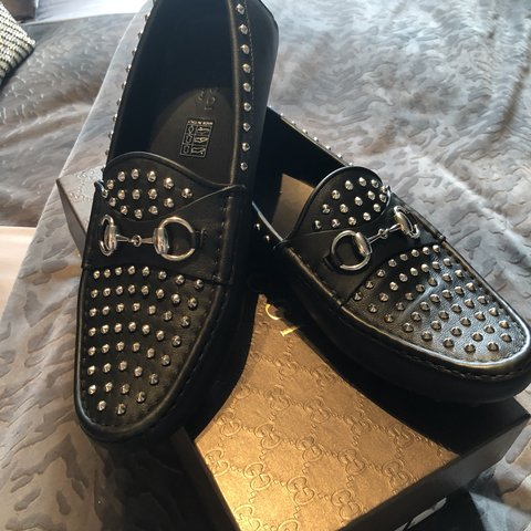 65bd0148de7 Gucci loafers size 40 Black with silver studs Brand new in - Depop