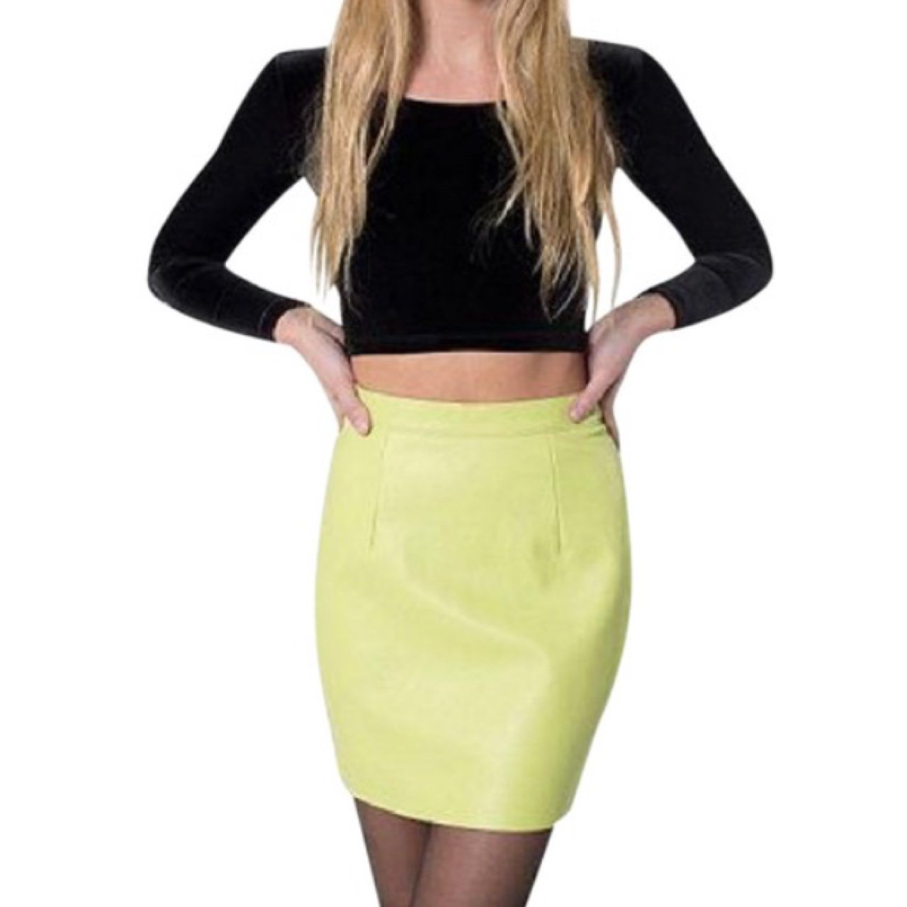 be9e8cfca38902 Lime Green Leather Skirt – DACC