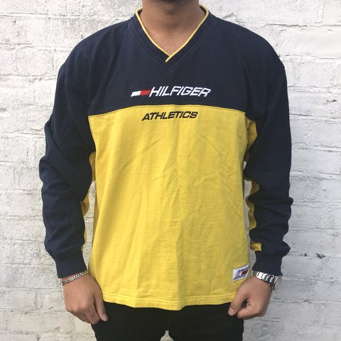 f11e10a9e TOMMY HILFIGER vintage yellow and navy sweatshirt -RARE - Depop