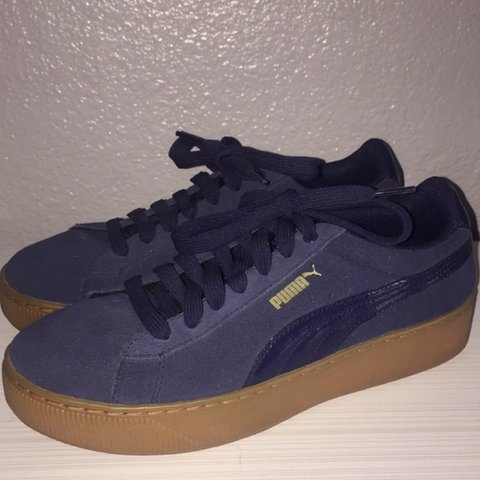 f2f7801aa0d4 Puma soft foam platforms in suede navy blue. These are dope - Depop