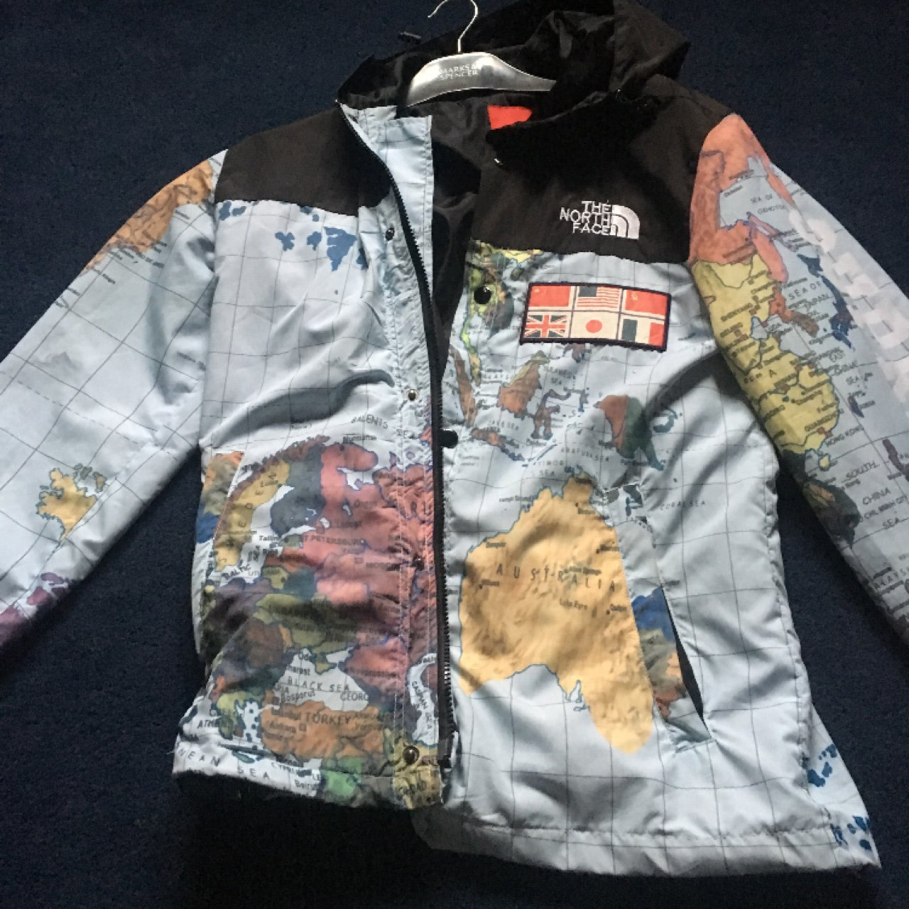 48726c3061 Supreme north face world map jacket Size -Medium Harry been - Depop