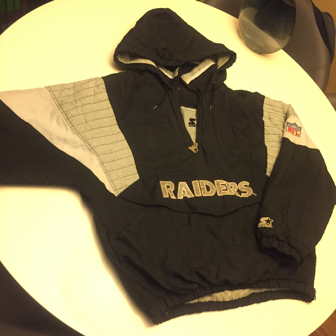 the best attitude d04f4 ad19a vintage raiders (starter jacket) Black/white/grey... - Depop