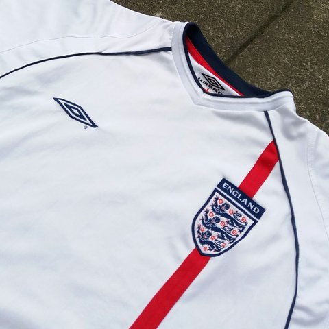 c4ed989a3 Vintage Retro Umbro England Football Team White Shirt. Size - Depop