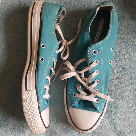 b740ed124440 Turquoise  converse with leopard print tongue. Used with to - Depop