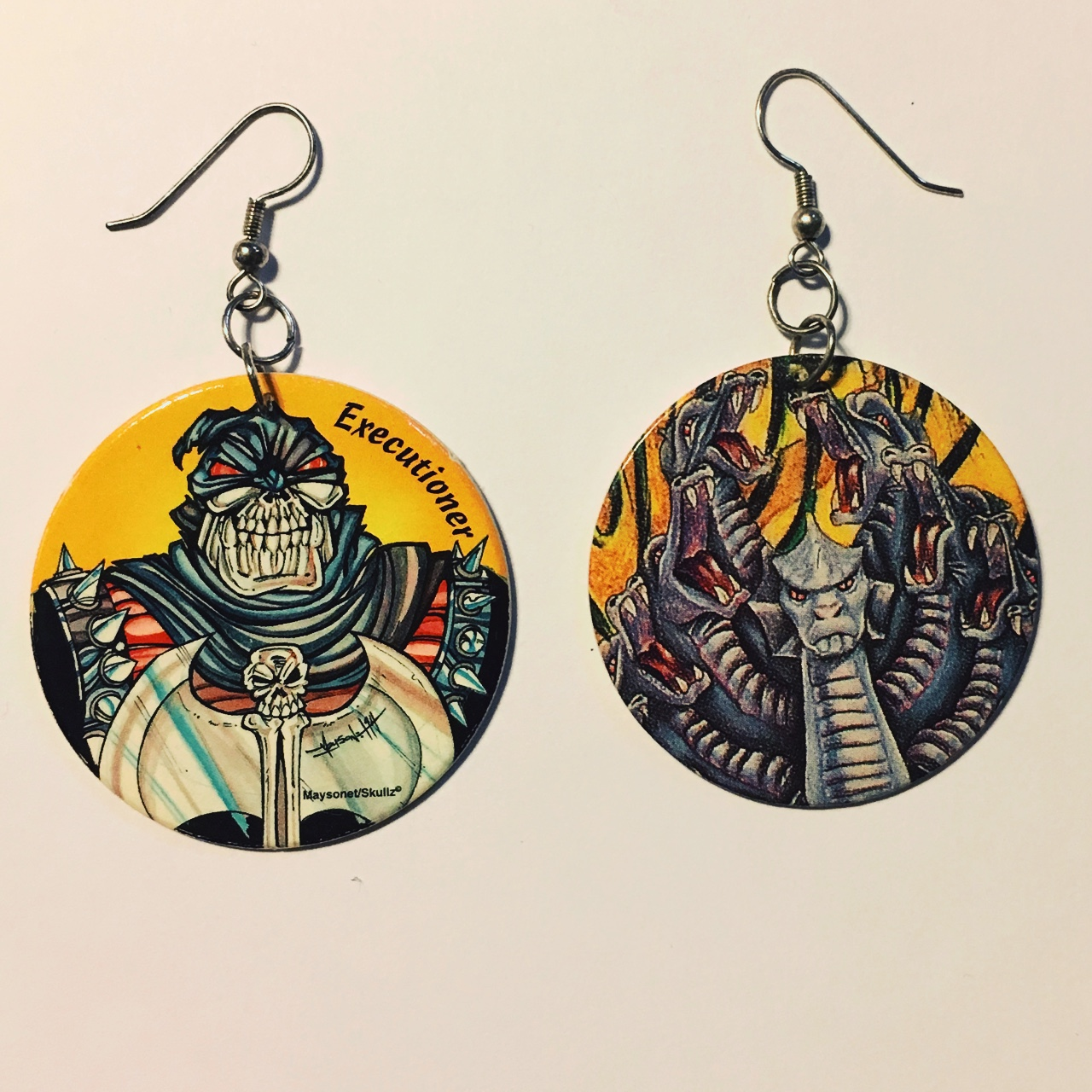 Executioner Pog Earrings made by me with vintage    - Depop
