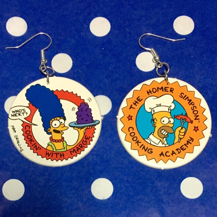 Simpsons Pog Earrings, made by me with vintage pogs