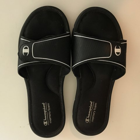 5b32a08fc COMFY CHAMPION MEMORY FOAM SLIDES SANDALS MEMORY FOAM BLACK - Depop