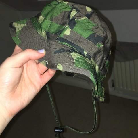 7462f45ae77d1 Cute camo bucket hat with neck string. Perfect for summer - Depop