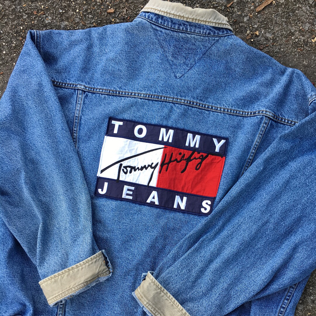 100% authentic big selection of 2019 search for newest Tommy Hilfiger jean jacket. Big flag. Size XL. Grail... - Depop