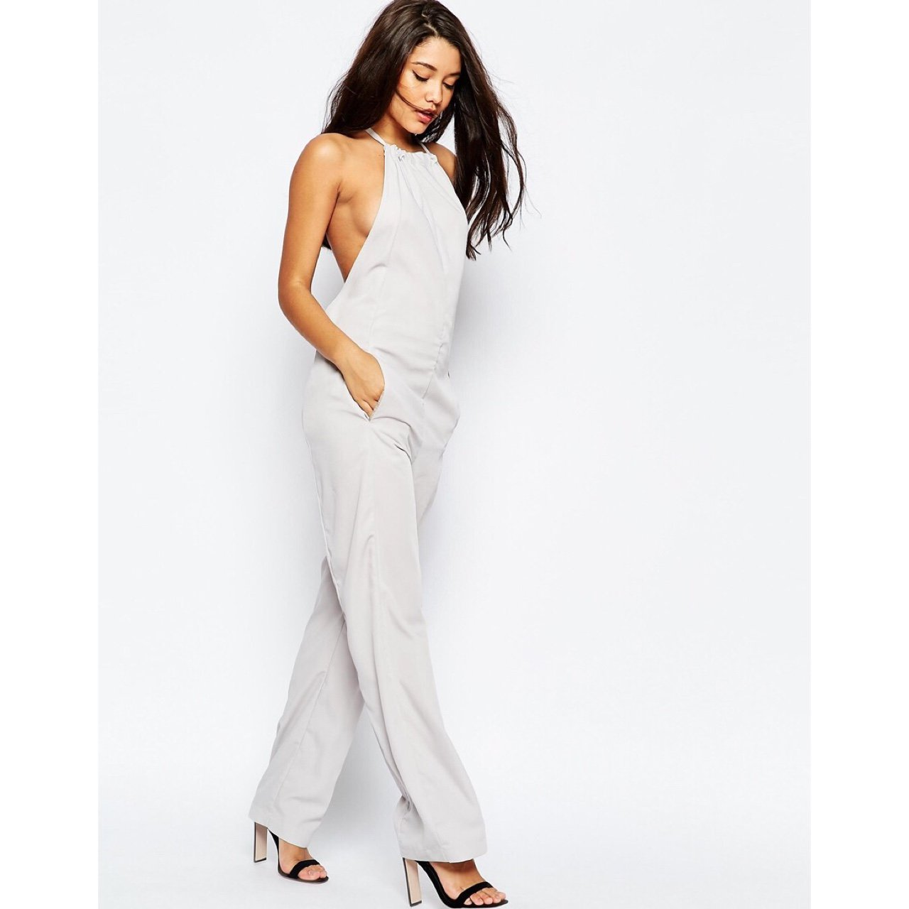 c8e5be3e88e7 ASOS High Neck Backless Jumpsuit in light grey. BRAND NEW IN - Depop