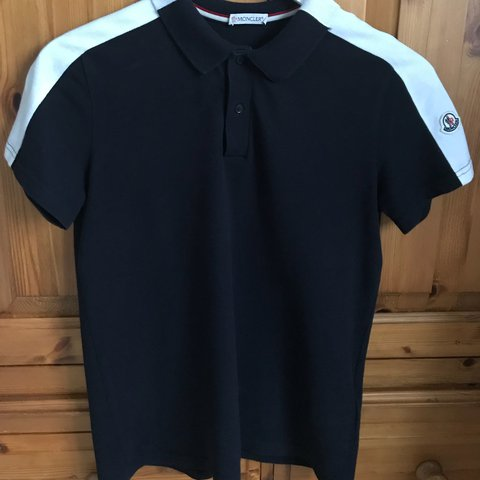 bce3df48 @georgiastancombe24. last year. Somersham, United Kingdom. Navy and white Moncler  polo shirt. Size 14 boys will fit ...