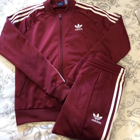 731352783509 Women s burgundy Adidas tracksuit Good condition Hardly A - Depop