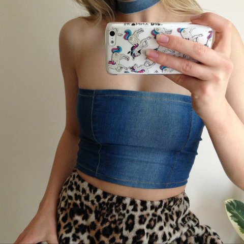 6020c1c1c9 Handmade denim boob tube or bandeau top with matching denim - Depop