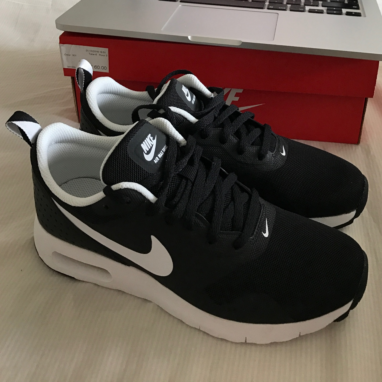 Nike Air Max Tavas (GS) blackwhite Size UK 3.5 Depop