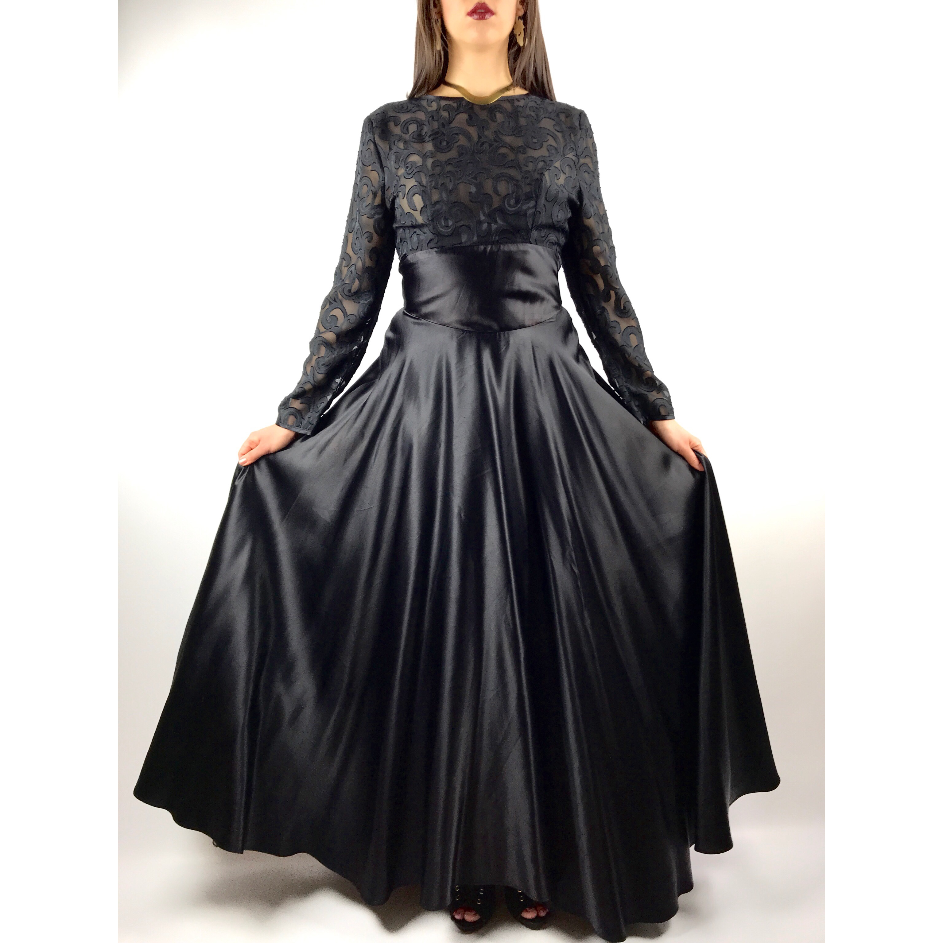 b3f60751beab6 Gorgeous vintage black lace with velvet and satin gown by BY - Depop