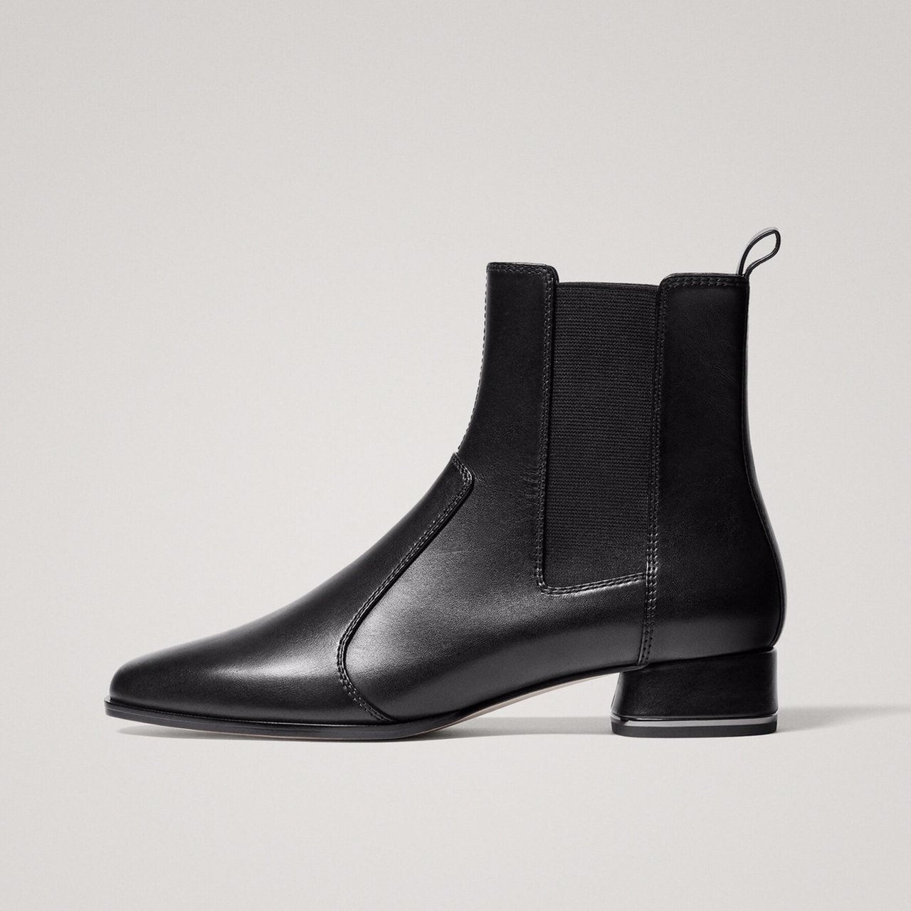 031ed568e5 Brand New With Tags Still Attached Massimo Dutti Black Sheep Leather  Stretch Ankle Boots With Dark