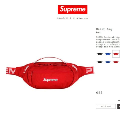 d746f26fbb13 Supreme waist bag red DS price 150 all in Meet up Milano in - Depop