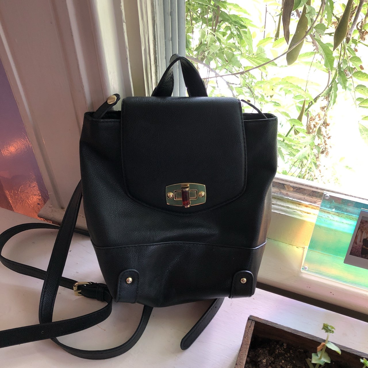 0093d16ee3c2 Black leather mini backpack from Target. Great condition for - Depop