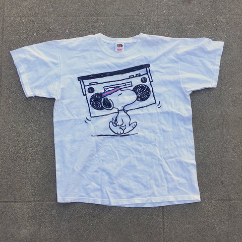 1f57232de28a Snoopy on this t-shirt with a boom box wearing a neon Super - Depop