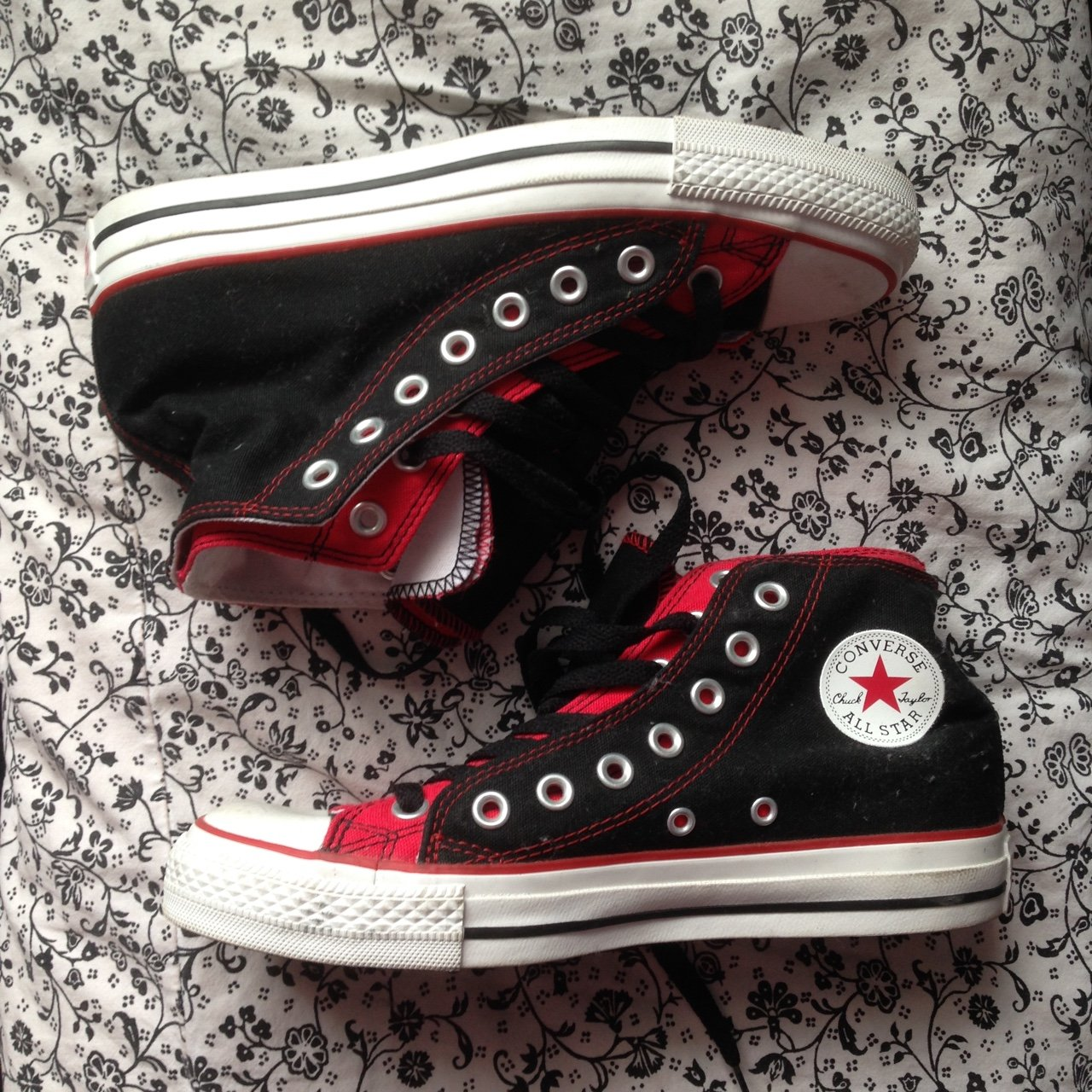 a318812da42fc6 Black and red double layer genuine converse  size uk 6   EU - Depop