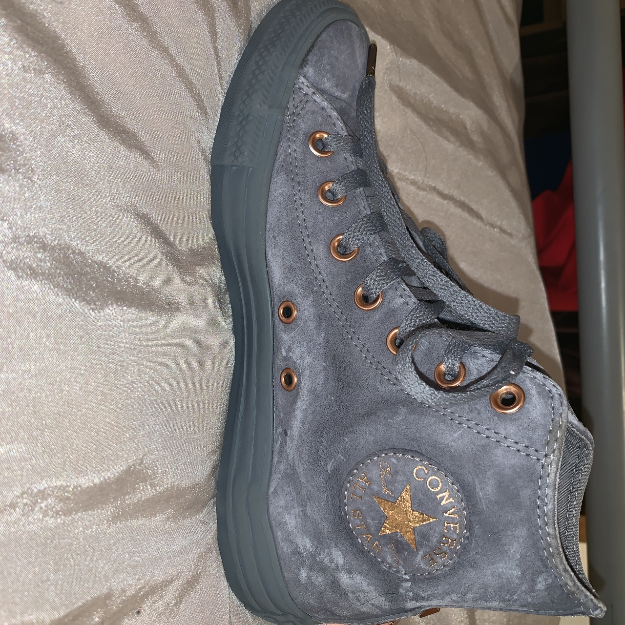 Grey suede high top limited edition Converse all Depop