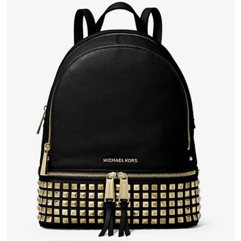 fa7bd36e0019 @chic_lux. 9 days ago. Pittsburgh, United States. Michael Kors rhea medium  studded pebbled leather backpack.