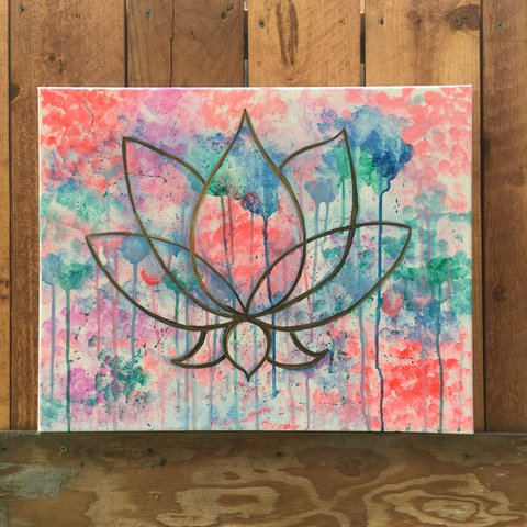 Lotus Flower Hand Made Acrylic Painting By Me Canvas Depop