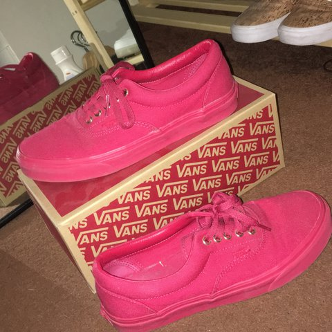 da05d4225 All red vans uk8 worn literally twice no defects slight on - Depop