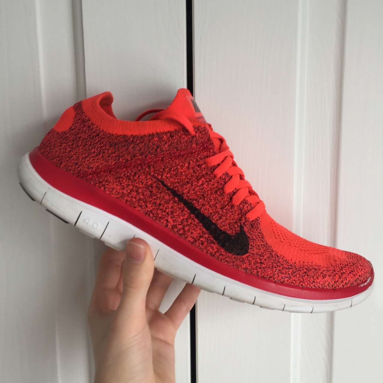 Nike Free 4 0 Flyknit Red Original Shape Great Depop