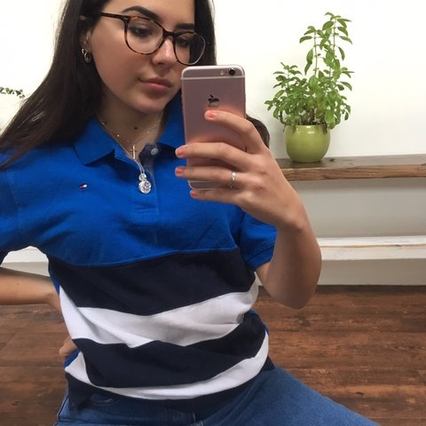 38ca4829 @ufu. 3 months ago. Buckhurst Hill, United Kingdom. Heyyy ppl 🌈 Tommy  Hilfiger Polo shirt. Colour: Blue with navy and white stripes