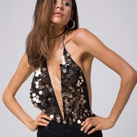 eeca10cf BNWT Motel rocks black and gold sequin disk bodysuit NEVER - Depop