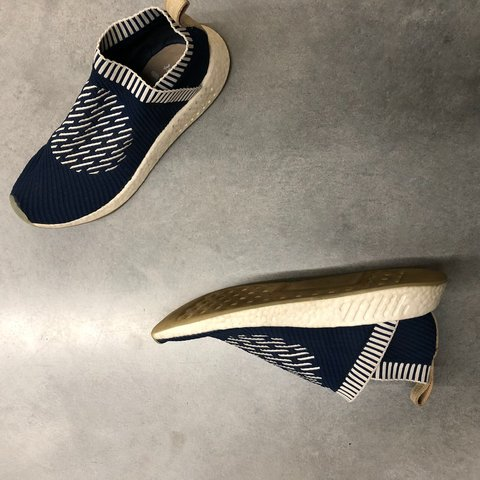 62d2c9594b62e ADIDAS NMD LACELESS COLOR  BLUE WHITE SIZE 12 COND.  nmd - Depop