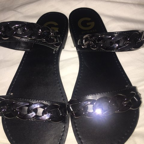 8638aee50e7b  tiny3. 11 hours ago. United States. Black chain detail sandals by Guess  size 7. No Flaws!!