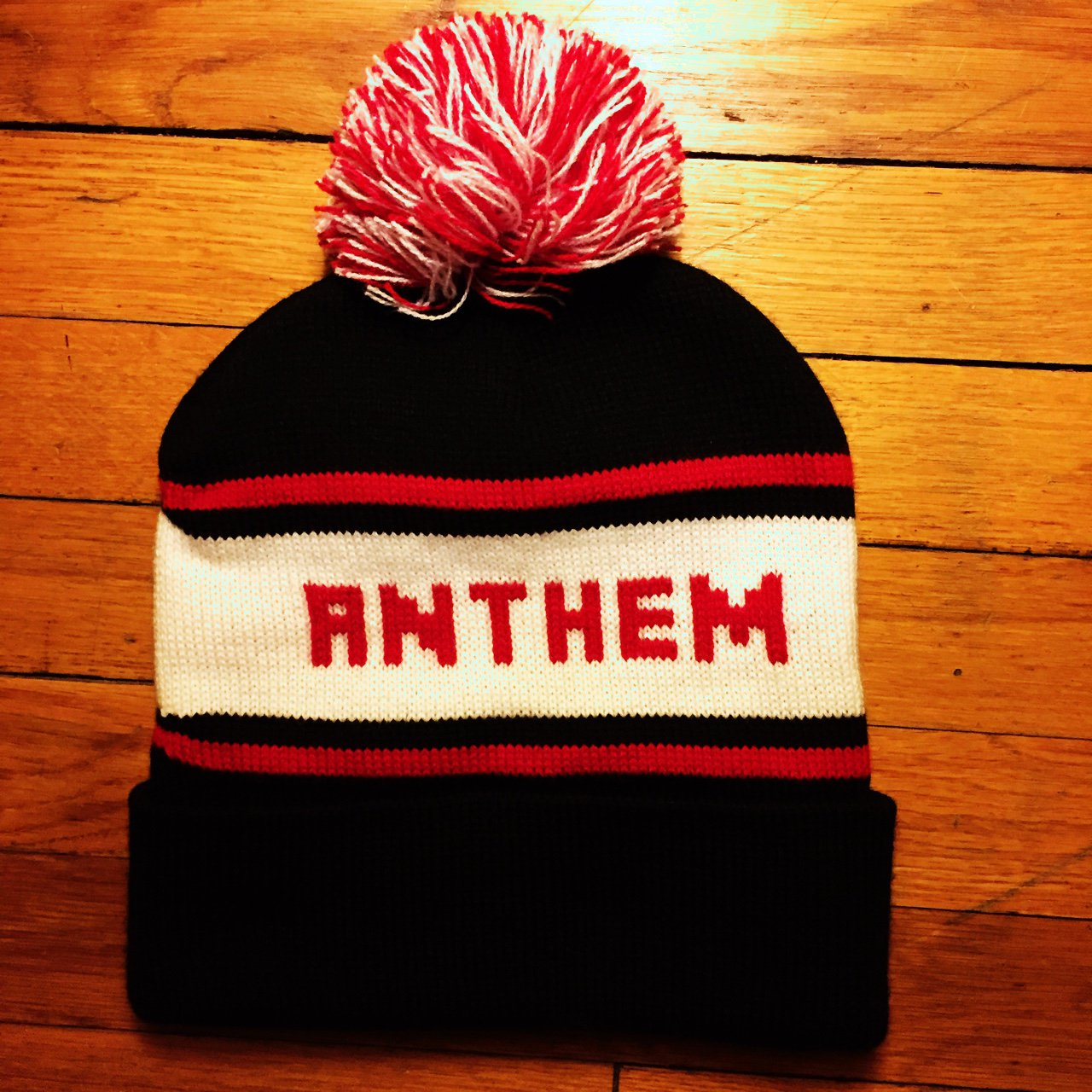 Anthem Made beanie-black red white. This line is owned by of - Depop 3231714323f1